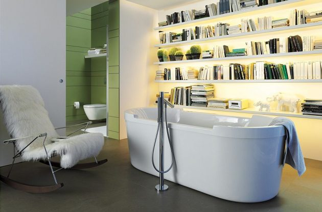 10 Exceptional Bathrooms With Bookshelves That Youre Gonna Love