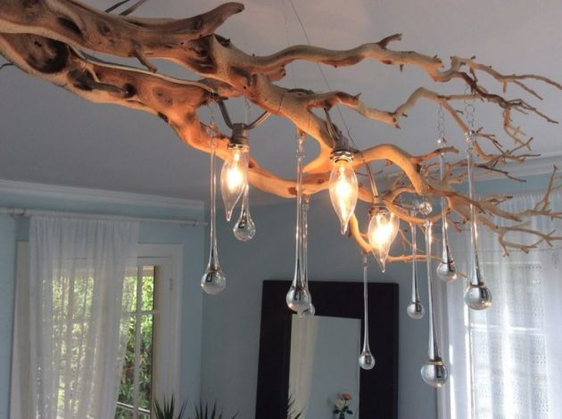 15 Really Fascinating DIY Tree Branch Chandeliers