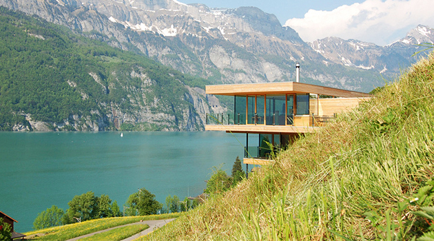 Walensee House by k_m Architektur on Lake Walensee in Switzerland