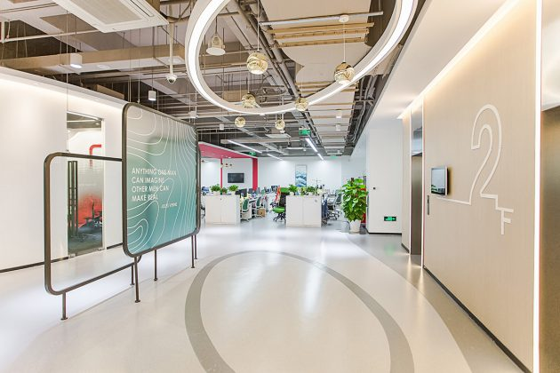 Office space design   Flowing melody Interior design of Shanghai KUNCHI office