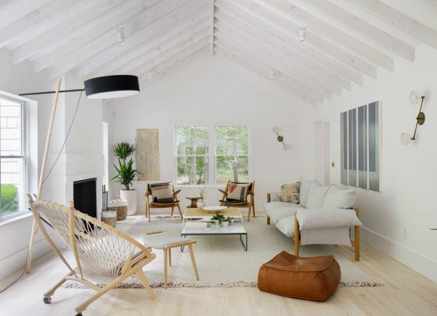 A Hamptons Beach Retreat gets a Scandinavian-Style Interior Makeover