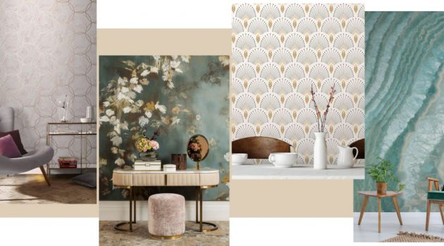 Aqueous Geo Quartz wallpaper by Graham & Brown | Floral Wallpaper from the Sofa & Chair Company | Art Deco wallpaper by Papermint | Blue Agate wallpaper by Murals Wallpaper