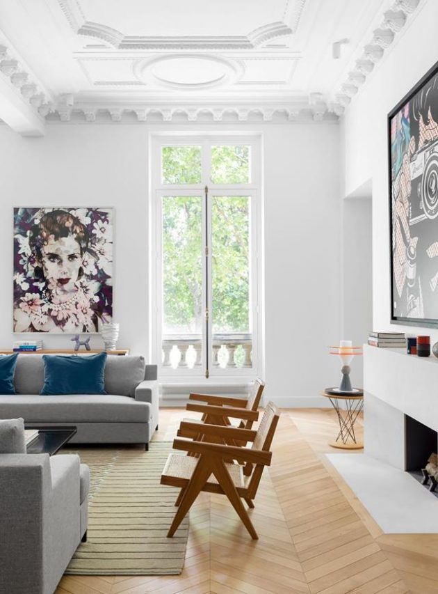 Luxurious Apartment in Paris Filled with Fine Arts and Furniture Classics