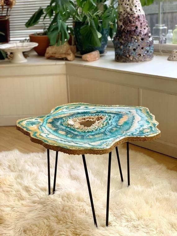 Mesmerizing Resin Tables Design Looking Like Giant Geode