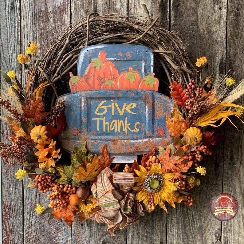 15 Fabulous Handmade Thanksgiving Wreath Design Youll Adore