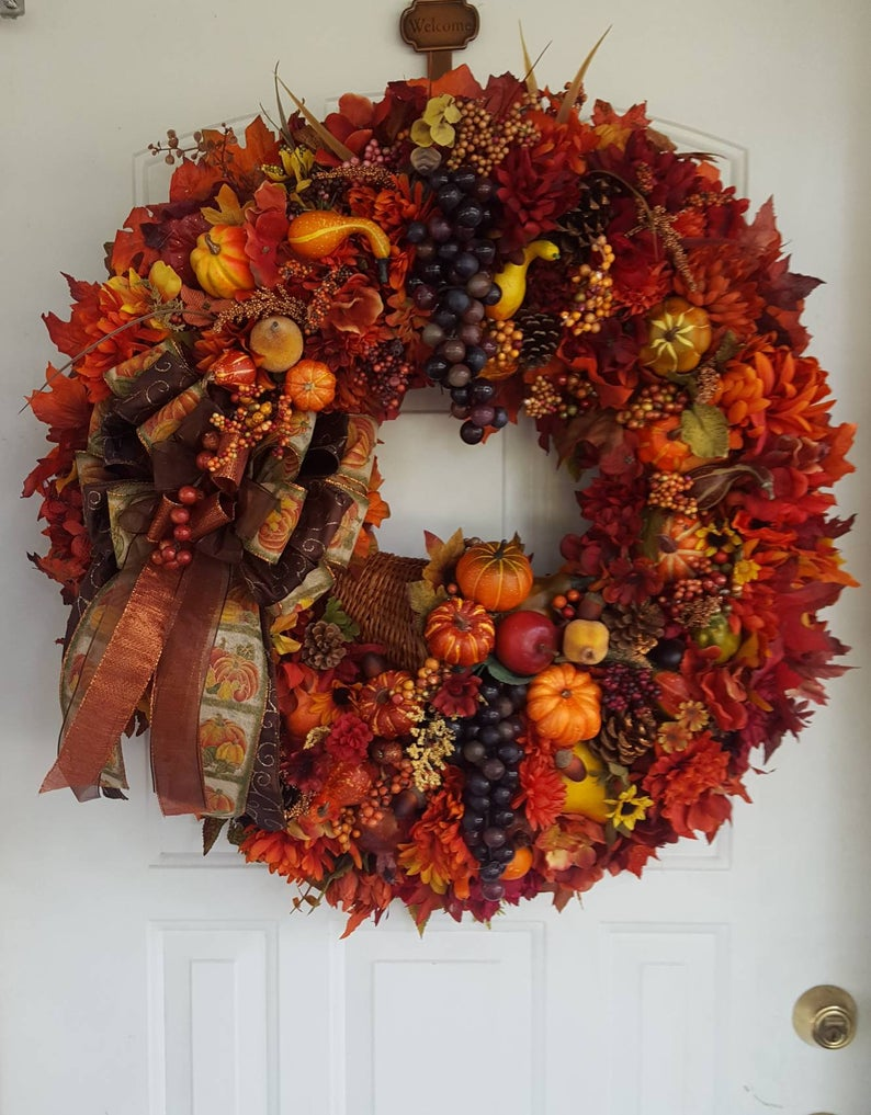 15 Fabulous Handmade Thanksgiving Wreath Design Youll Adore