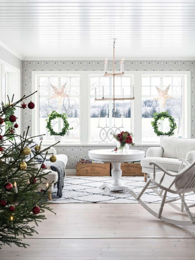 Newly Built Swedish House Decorated For Christmas