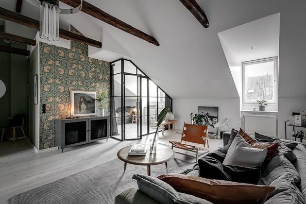 Roof Beams and Glass Wall in Diaphanous Attic
