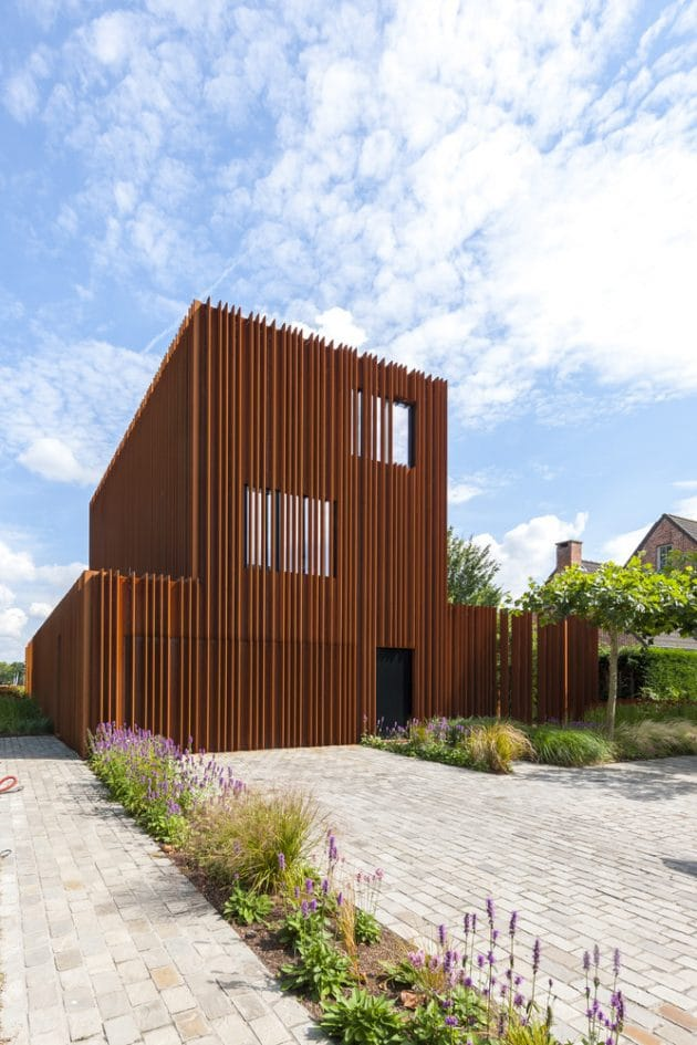 Corten House by DMOA Architecten in Kontich, Belgium