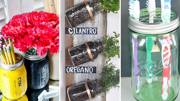 15 Cool & Practical DIY Mason Jar Storage & Organization Crafts