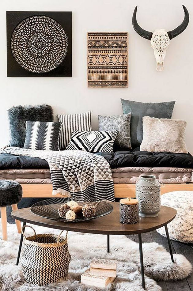 Living Room With an Ethnic Decor