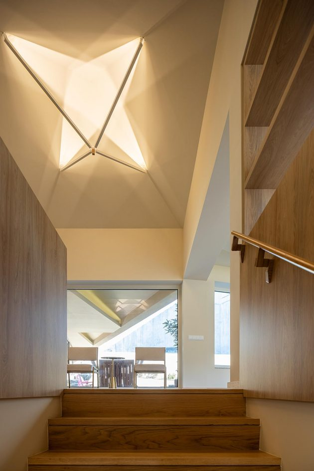 Interior lighting of a house in Porto, inspired by umbrellas