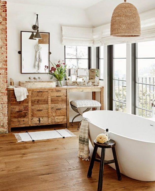 Decorative Ideas for a Bathroom Around Wood