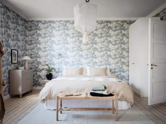 Delicate Bedroom with Floral Wallpaper & Natural Ambience
