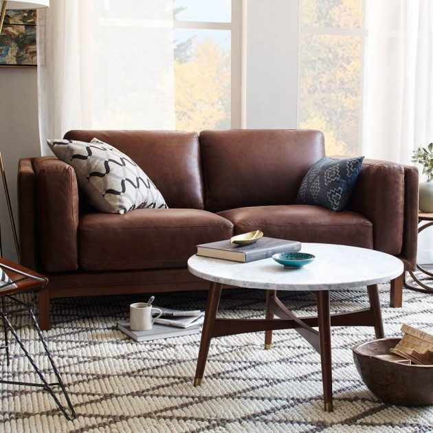 Gorgeous Living Room With Brown Sofa