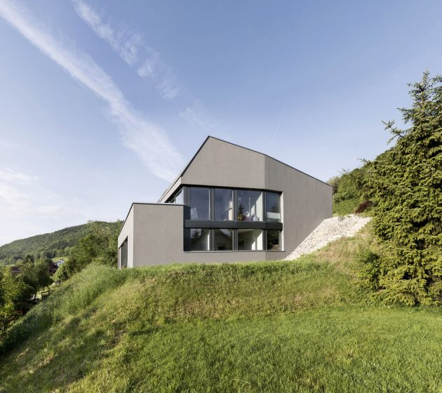 Single Family House on a Slope by Dost in Merishausen, Switzerland