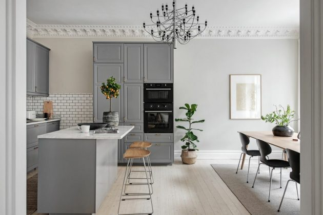 Gray Kitchen With Very Light Island