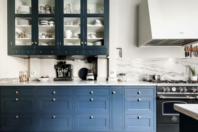 Dreamy Blue And White Closed Kitchen