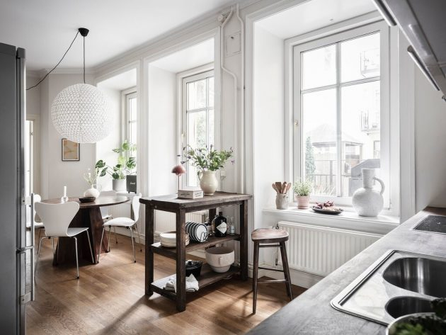 Look At The Work Table That Serves As A Kitchen Island
