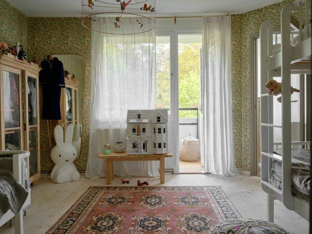 Children's Bedroom With Bunk Beds For 3 Children