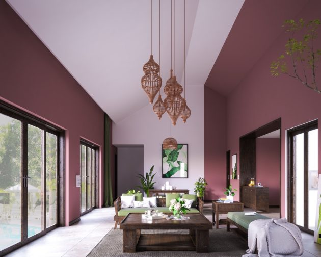 A Pink Ceiling In The Living Room Is The Perfect Decor