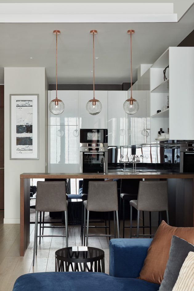 Neva Towers Apartment Restyling by INRE Studio in Moscow, Russia